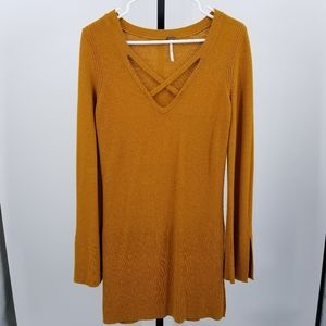 Free People Criss Cross Neck Knit Tunic Mustard